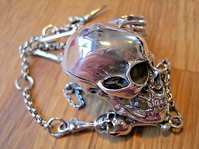 Novelty Sterling Silver Anatomical Skull Box Case Vesta On Albert Watch Chain