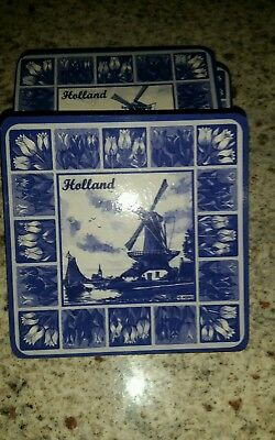 Blue & White Delft Style Holland Coasters Like New
