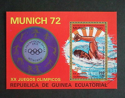 Equatorial Guinea 1972 Olympics Munich swimming used MS miniature sheet
