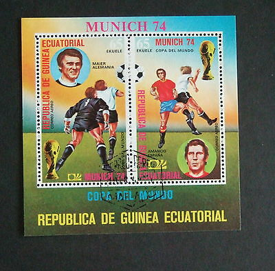 Equatorial Guinea 1974 Munich 74 Football players used MS miniature sheet used
