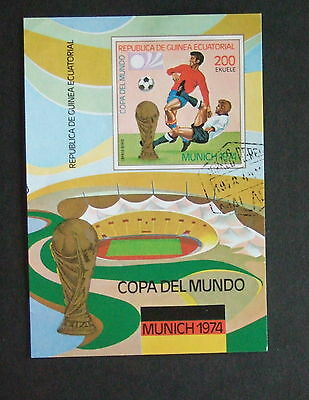 Equatorial Guinea 1974 Football players Munich IMPERF used MS miniature sheet