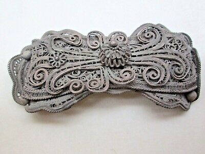 WOMAN BELT BUCKLE ANTIQUE COPPER SILVER PLATED FILIGREE EUROPE 19th CENTURY