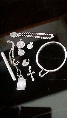 Sterling silver scrap St Christopher's, Cross, bracelet, padlocks scrap or reuse