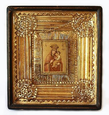 """Antique19th C Russian Lithoprint Icon of the Mother of God """"Quick to Hearken"""""""