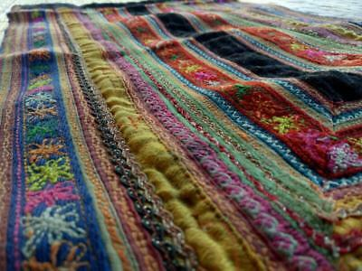 HMONG Antique Handmade Fabric Embroidery Tablecloth Decorate Hippie Vintage R-24