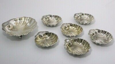 Antique Gorham Durgin Sterling Silver Shell Nut Bowl Set with Place Card Clip