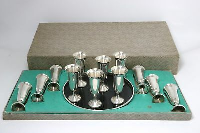 Sterling Silver Cordials Goblets with Tray 13 Pc Set