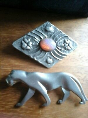 Arts and crafts pewter brooch & Art Deco pewter panther brooch
