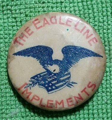 Vintage Agricultural Advertising Pin THE EAGLE LINE IMPLEMENTS c1898