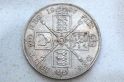 Scarce, Old 1887 Double Florin Silver Coin! Victoria Jubilee Bust, High Grade!