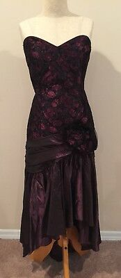 Vtg Black Purple Pink Prom Dress Floral Lace 80s 90s Party Cocktail Taffeta
