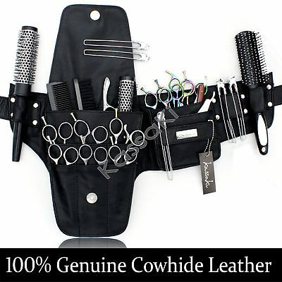 Genuine Leather Hairdressing Tool Belt Bag Scissor Pouch