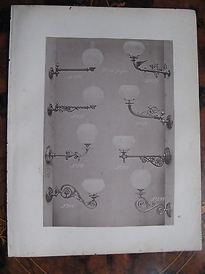Antique Glass Shade Gas  Wall Sconce Light Fitting   c1870 Photogravure