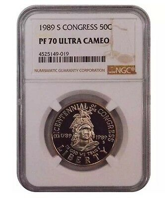 Clean 1989 S NGC PF70 Clad Bicentennial OF The Congress 50C Half Dollar Coin