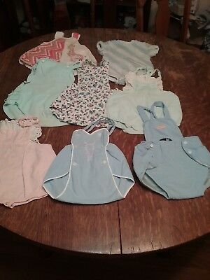 Baby clothes vintage lot of 8 romper various colors good condition