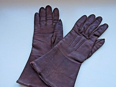 Authentic Vintage Motorcycle Ladies Leather Driving Gloves Gauntlets 6.5 Brown