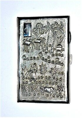 Antique India Sterling Silver Cigarette Case Embossed Gilded  170 grams