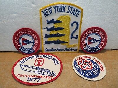 Lot of 5 Vintage 1970's Power Boat Club Racing Patches New York New Jersey Mint