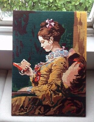 "Tapestry portrait of ""The Reader""  - hand stitched - 64cm x 48cm"