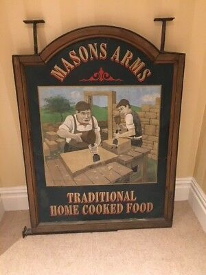 "Huge Double Sided Hand Painted Wooden Hanging Pub Sign ""The Masons Arms"""