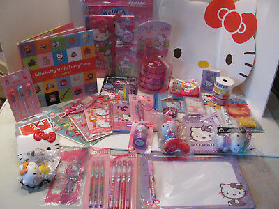 New Hello Kitty Lot - toys cards stickers rhinestone pin Easter basket gift set