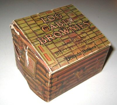 Vintage Log Cabin Brownies Box 1902 National  Biscuit Company Palmer Cox Fairies