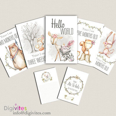Baby Milestone Cards, Baby Girl Moments and Milestones, Woodland, Announcement