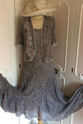 ANN BALON LACE DRESS & JACKET SUIT WEDDING CRUISE MOTHER OF THE BRIDE Size 10