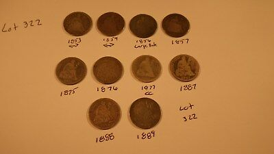 10 Different Liberty Seated Dimes  - Item 322