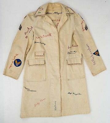 Amazing 1940s WWII Rosie the Riveter Homefront Shop Coat Embroidered Signatures