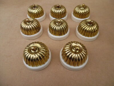 8 x 1940s BRASS & PORCELAIN JELLY MOULD LIGHT SWITCHES  7x1way  1x2way