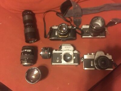 Vintage 4 Camera Lot & 7 Lens Parts Only Sold As Is
