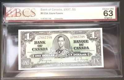 1937 $1.00 bill Signed By Coyne - Towers Graded by BCS Choice UNC 63