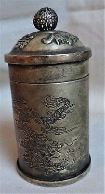 Vintage Chinese Silver Plated Copper Container