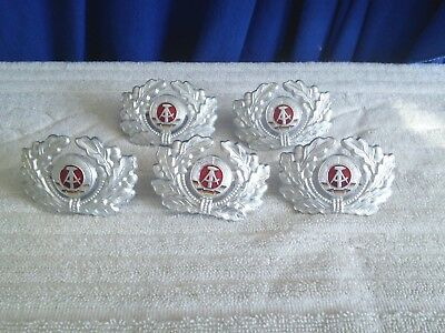 Lot (5 pcs) East German DDR Army, Police Hat Insignia Badge (NOS)