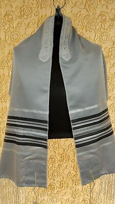 "Talit, Tallit, Prayer Shawl -  NEW -  18""x64"" Gray w/ Black & Silver Stripes"