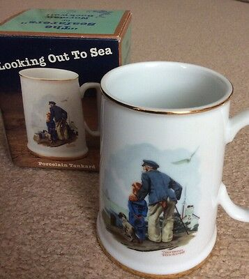 Norman Rockwell Looking Out to Sea Porcelain Tankard 1984 ~ New in Original Box