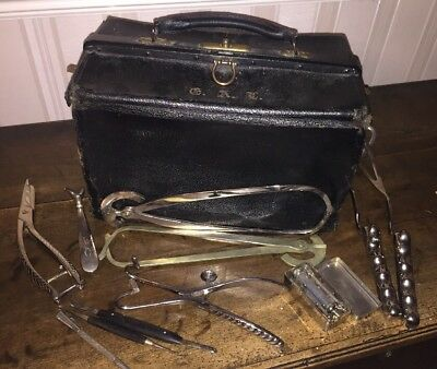 1900's Leather Doctor Bag With Victorian And Later Medical Insturments Syringe