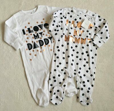 ***BNWT Next baby girl Mummy/Daddy Monochrome sleepsuits 2 pack set 3-6 months**