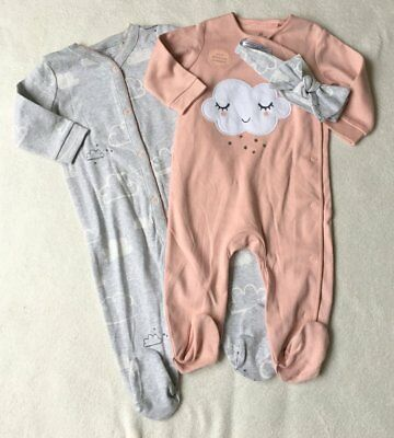 ***BNWT Next baby girl Cloud sleepsuits 2 pack set with headband 0-1 month***