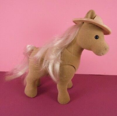Sylvanian Families Vintage Pony With Hat. Good Played With Condition.