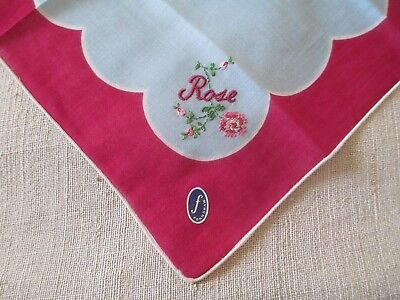 "Vintage Franshaw Embroidered "" Rose "" Handkerchief Hanky"