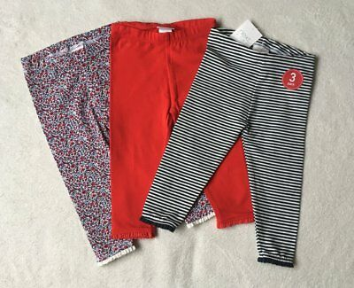 ***BNWT Next baby girl Ditsy/Navy striped/Red leggings 3 pack set 9-12 months***