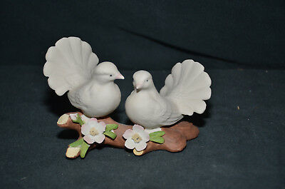 Porcelain Two Doves on Tree Branch Figurine