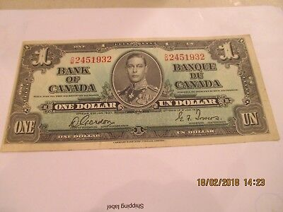 1937 Canadian 1.00 Note,P-58d
