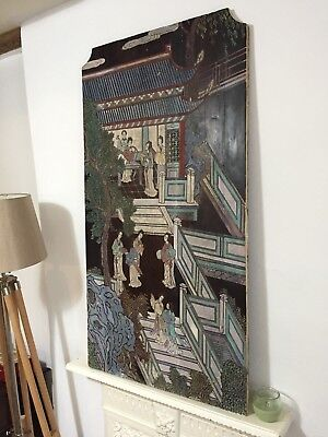 Large oriental carved and painted panel (painting / carving)