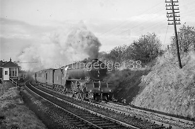 BR Large Negative: V2 60823 Passing ?????Bridge Signal Box 1950s see text* 6/766