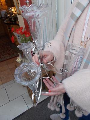 Pretty Antique Silver Plate & Etched Glass 4 Fluted Epergne Nice Centrepiece
