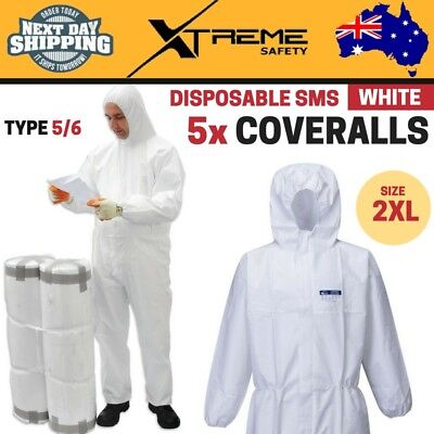 5x Disposable SMS White Coveralls Type 5/6 Polypropylene Lightweight 2XL