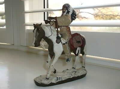 Beautiful Hand Painted Cold Cast Bronze Native American on Horse marked to base